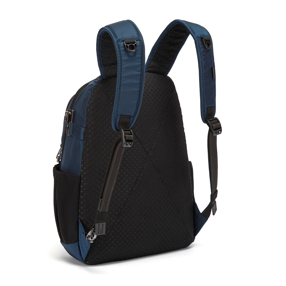 Back side view of the Pacsafe Metrosafe LS350 Anti-Theft Backpack color Ocean made with ECONYLu00ae regenerated nylon