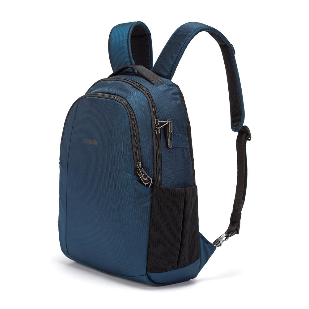 Front side view of the Pacsafe Metrosafe LS350 Anti-Theft Backpack color Ocean made with ECONYLu00ae regenerated nylon