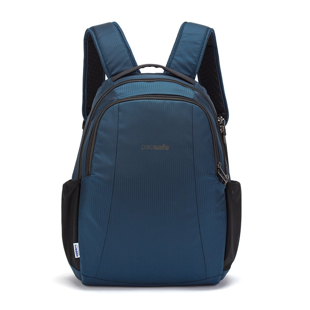 Front view of the Pacsafe Metrosafe LS350 Anti-Theft Backpack color Ocean made with ECONYLu00ae regenerated nylon