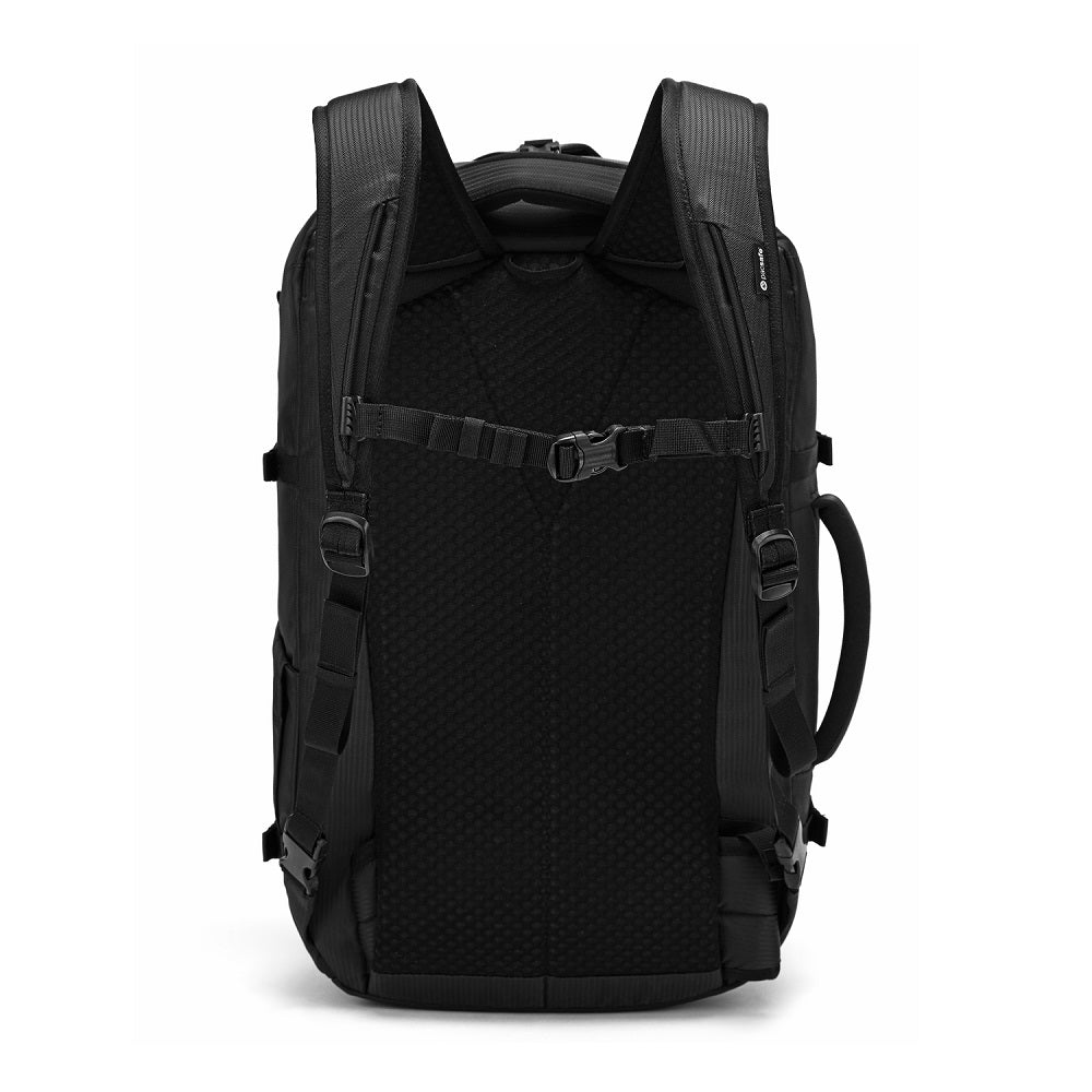 Back view of the Pacsafe Venturesafe EXP45 Anti-Theft Carry-On Travel Pack color Black made with ECONYLu00ae regenerated nylon