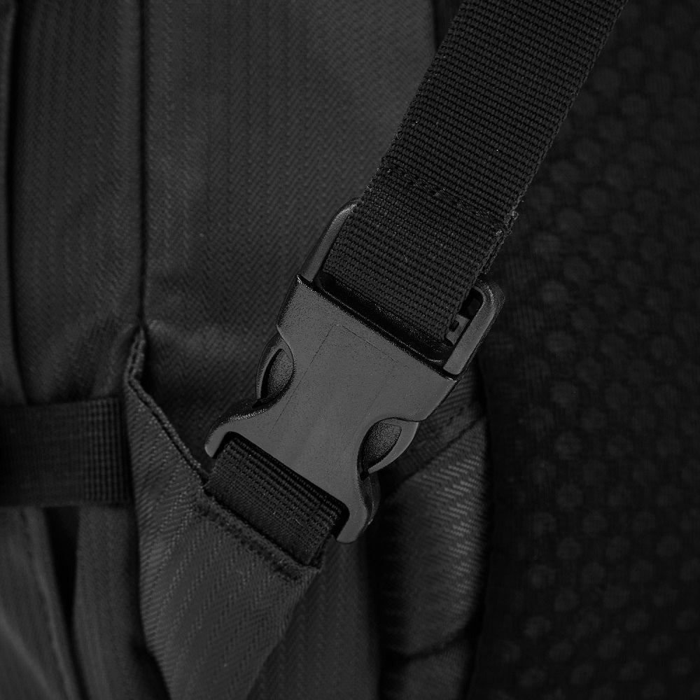 Detail of the Pacsafe Venturesafe EXP45 Anti-Theft Carry-On Travel Pack color Black made with ECONYLu00ae regenerated nylon