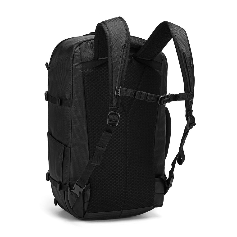 Back side view of the Pacsafe Venturesafe EXP45 Anti-Theft Carry-On Travel Pack color Black made with ECONYLu00ae regenerated nylon