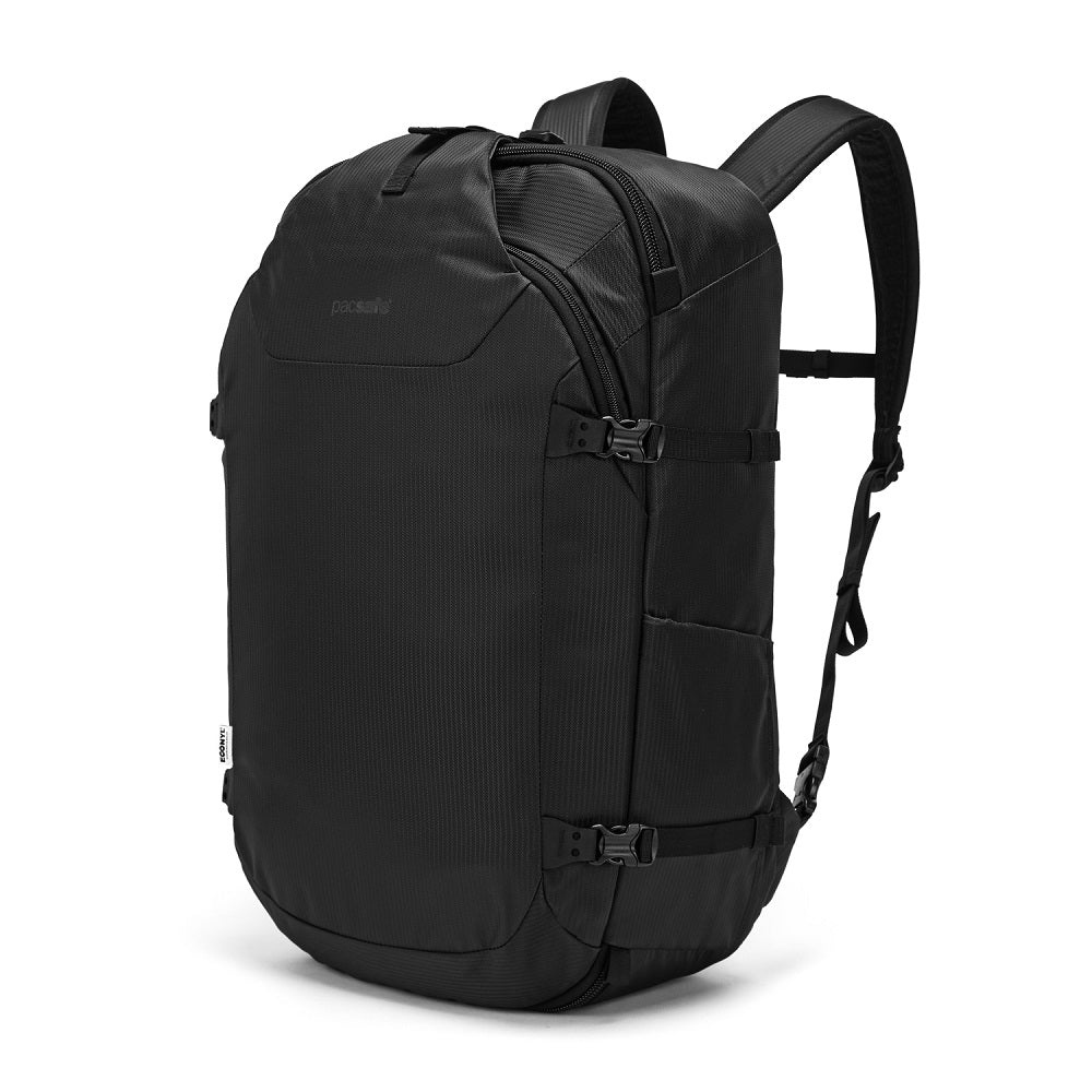 Front side view of the Pacsafe Venturesafe EXP45 Anti-Theft Carry-On Travel Pack color Black made with ECONYLu00ae regenerated nylon