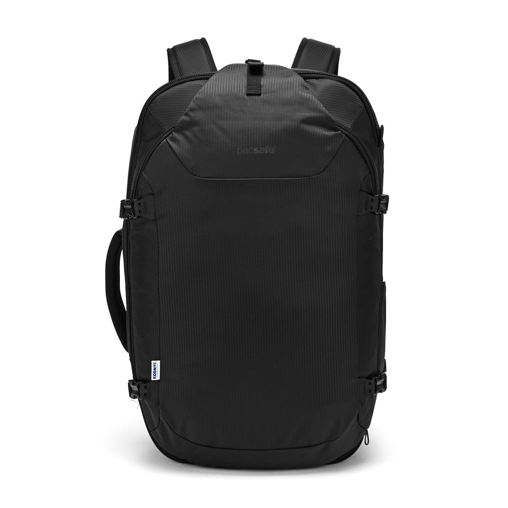 Pacsafe Venturesafe EXP45 Anti-Theft Carry-On Travel Pack color Black made with ECONYLu00ae regenerated nylon
