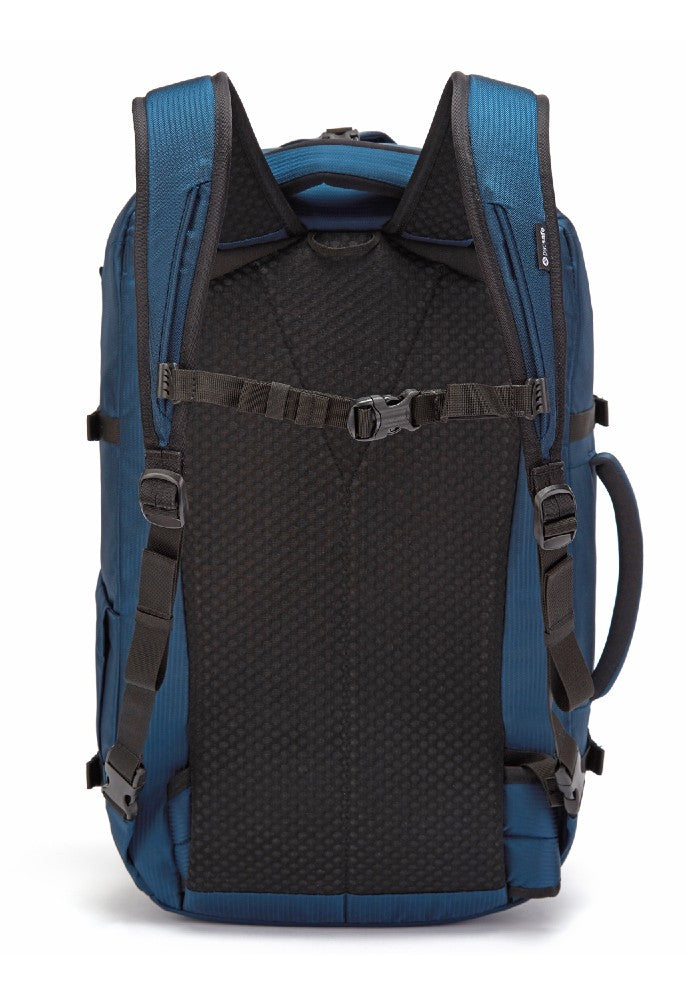 Back view of the Pacsafe Venturesafe EXP45 Anti-Theft Carry-On Travel Pack color Ocean made with ECONYLu00ae regenerated nylon