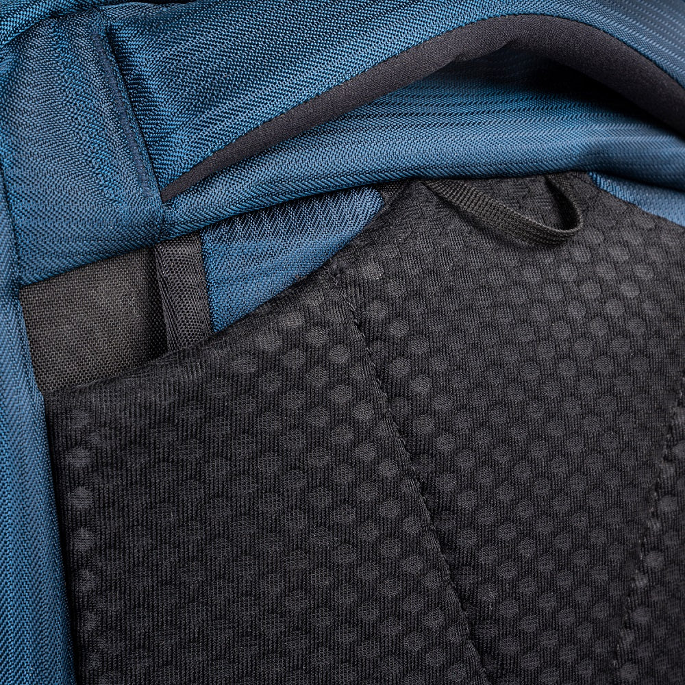 Detail of the Pacsafe Venturesafe EXP45 Anti-Theft Carry-On Travel Pack color Ocean made with ECONYLu00ae regenerated nylon