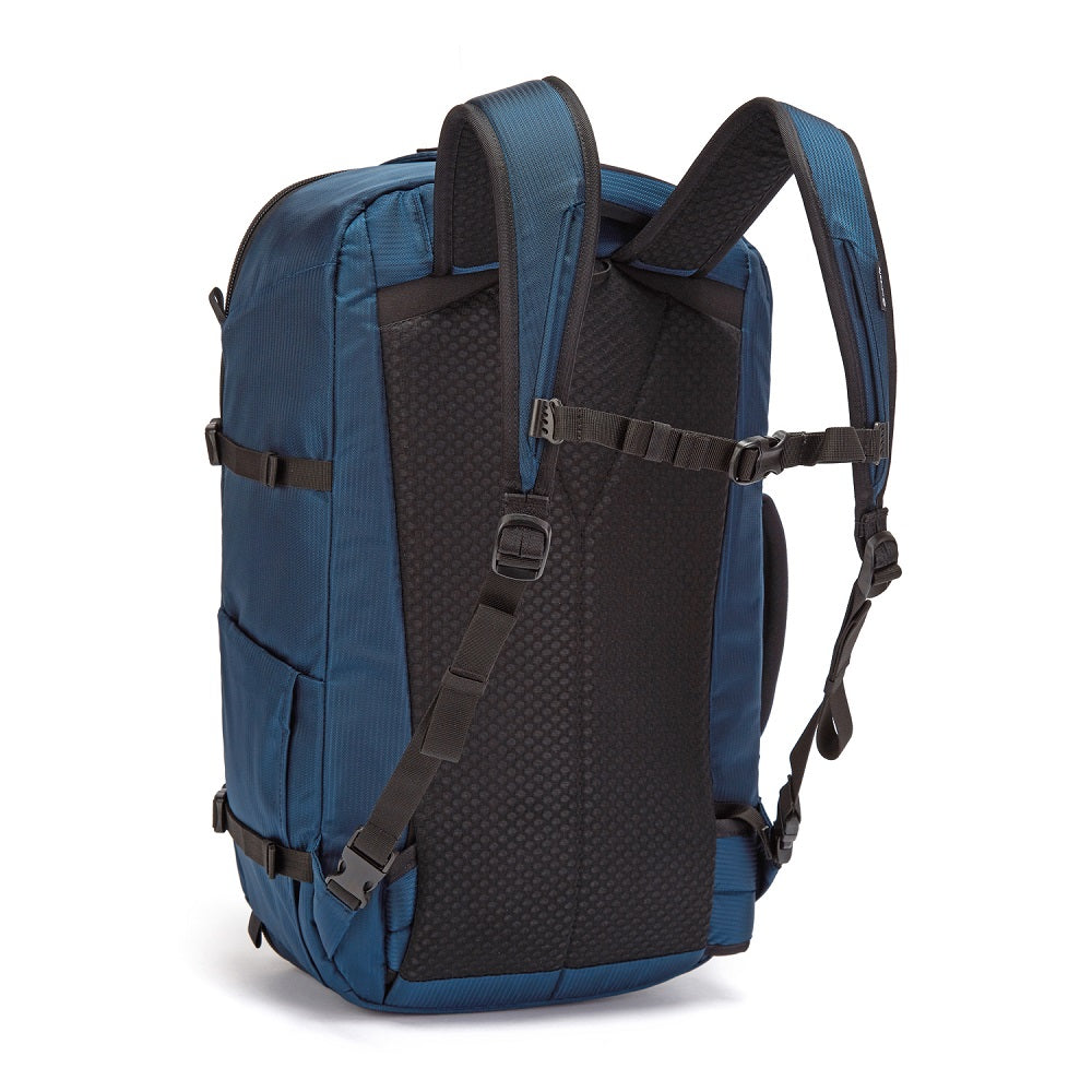 Back side view of the Pacsafe Venturesafe EXP45 Anti-Theft Carry-On Travel Pack color Ocean made with ECONYLu00ae regenerated nylon