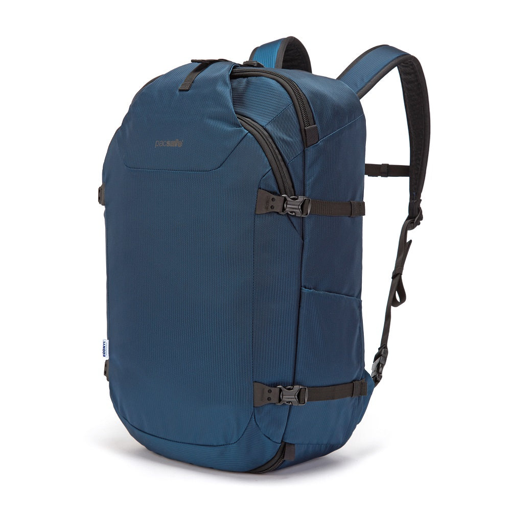 Front side view of the Pacsafe Venturesafe EXP45 Anti-Theft Carry-On Travel Pack color Ocean made with ECONYLu00ae regenerated nylon