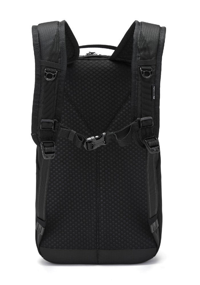 Back view of the Pacsafe Vibe 20L Anti-Theft Backpack color Black made with ECONYLu00ae regenerated nylon