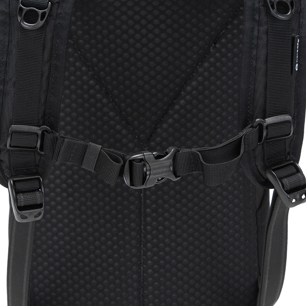 Detail of the Pacsafe Vibe 20L Anti-Theft Backpack color Black made with ECONYLu00ae regenerated nylon