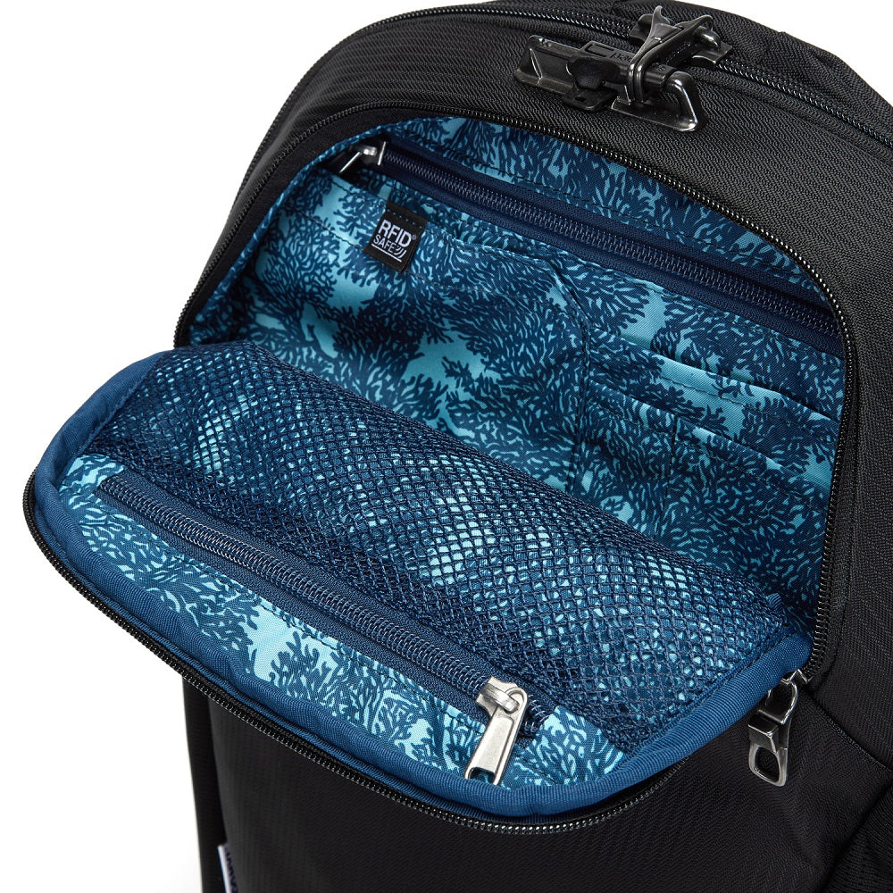 Inside view of the Pacsafe Vibe 20L Anti-Theft Backpack color Black made with ECONYLu00ae regenerated nylon