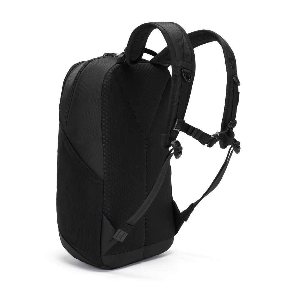 Back side view of the Pacsafe Vibe 20L Anti-Theft Backpack color Black made with ECONYLu00ae regenerated nylon
