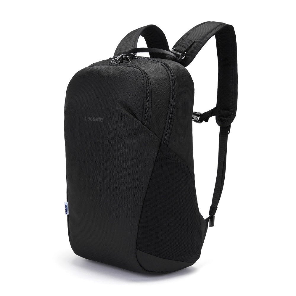 Front view of the Pacsafe Vibe 20L Anti-Theft Backpack color Black made with ECONYLu00ae regenerated nylon