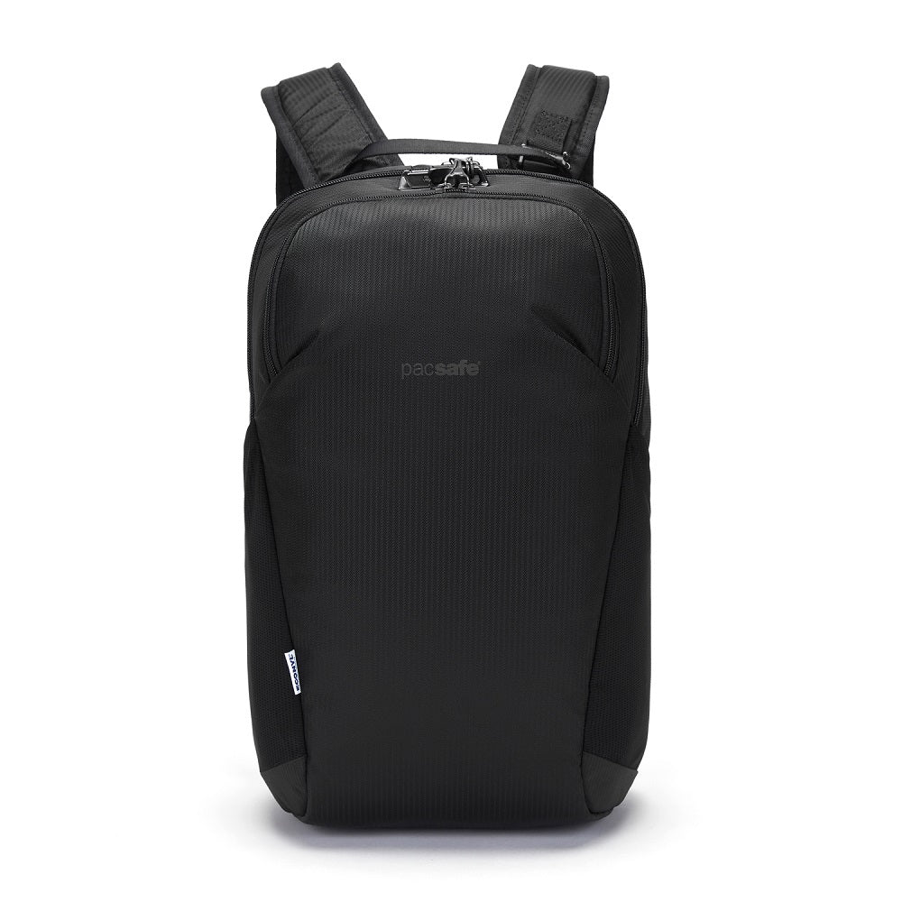 Pacsafe Vibe 20L Anti-Theft Backpack color Black made with ECONYLu00ae regenerated nylon