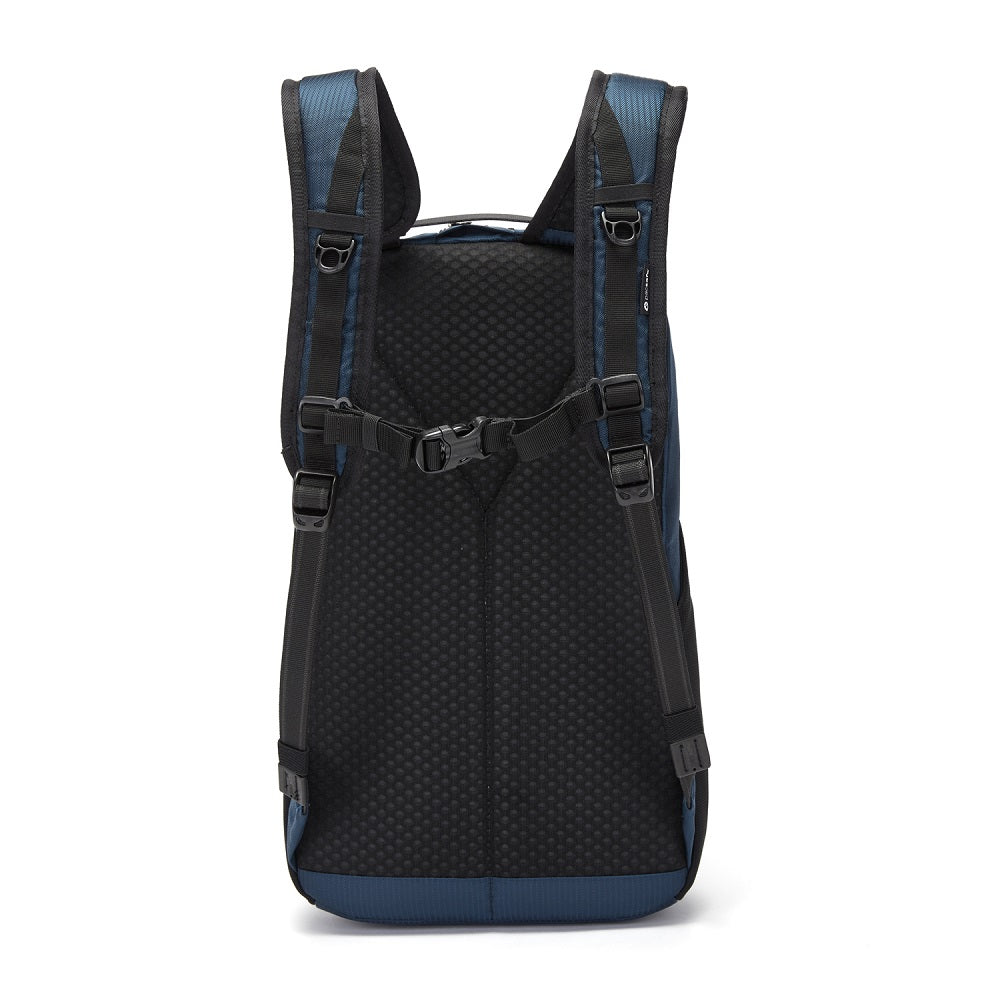 Back view of the Pacsafe Vibe 20L Anti-Theft Backpack color Ocean made with ECONYLu00ae regenerated nylon