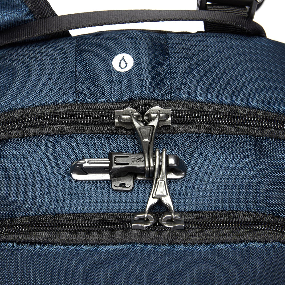 Detail of the Pacsafe Vibe 20L Anti-Theft Backpack color Ocean made with ECONYLu00ae regenerated nylon