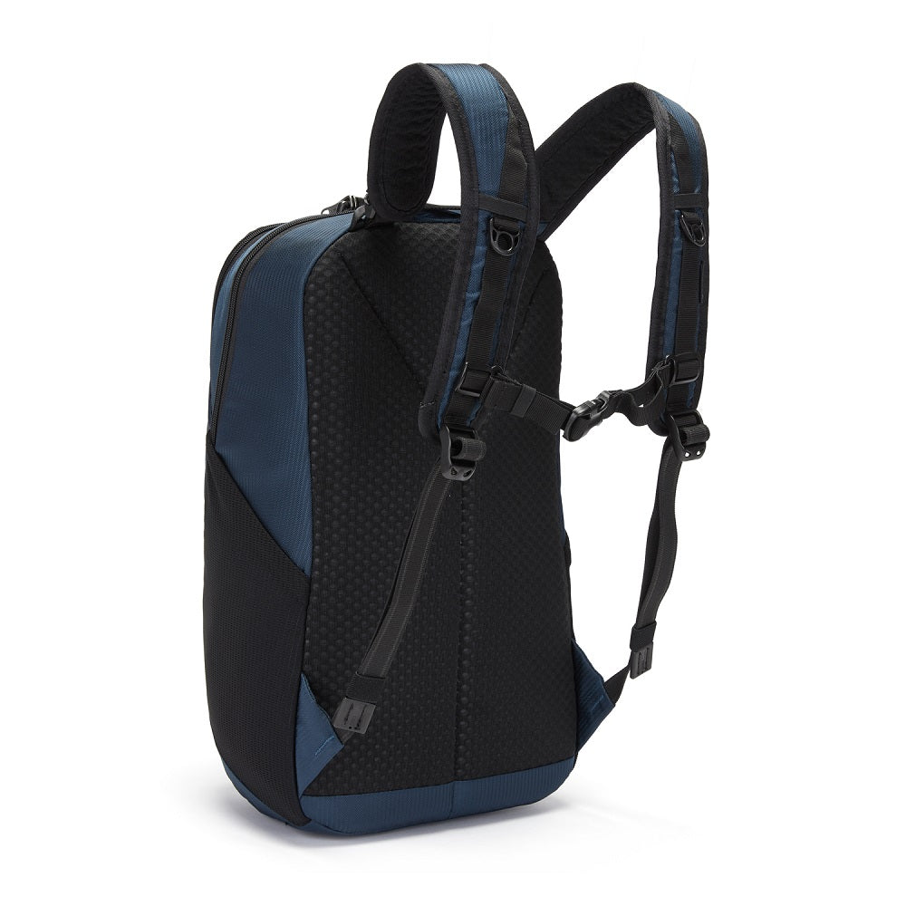 Back side view of the Pacsafe Vibe 20L Anti-Theft Backpack color Ocean made with ECONYLu00ae regenerated nylon