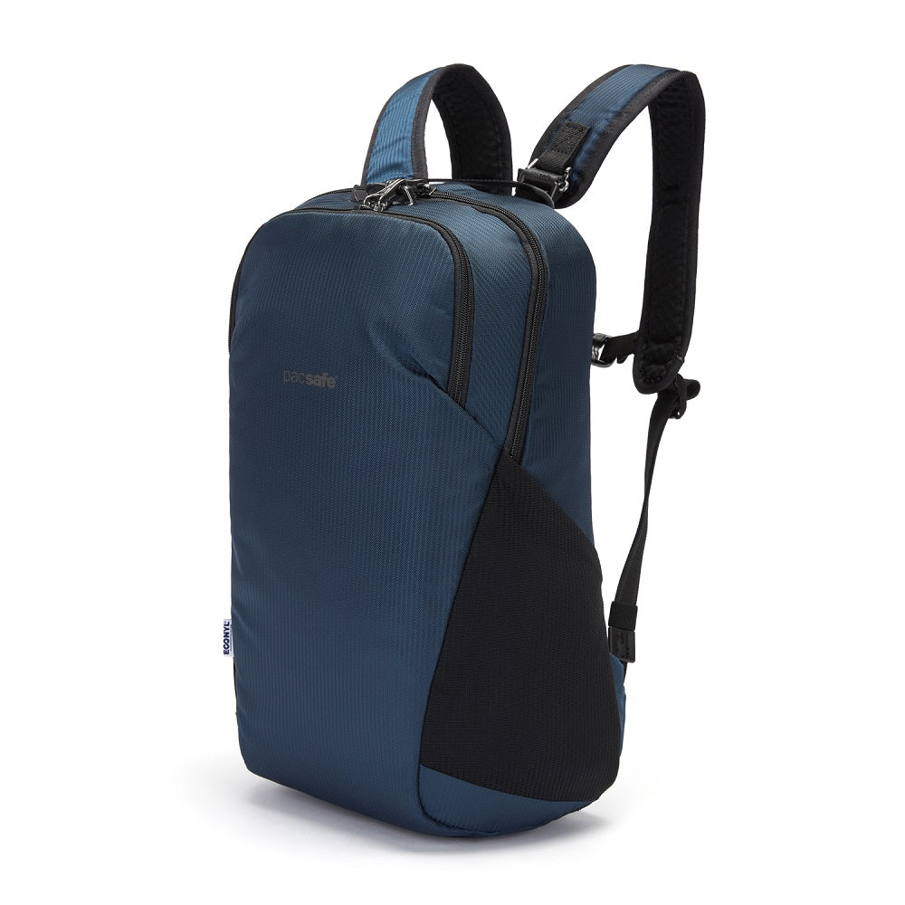 Front side view of the Pacsafe Vibe 20L Anti-Theft Backpack color Ocean made with ECONYLu00ae regenerated nylon