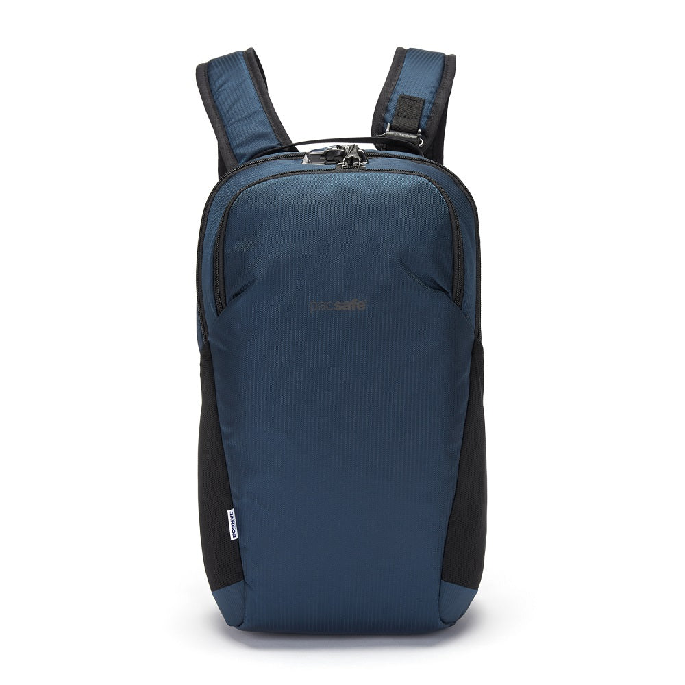 Front view of the Pacsafe Vibe 20L Anti-Theft Backpack color Ocean made with ECONYLu00ae regenerated nylon