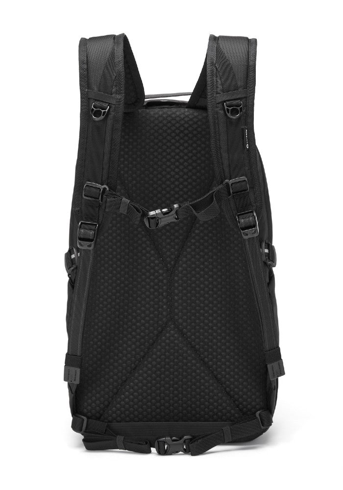 Back view of the Pacsafe Vibe 25L Anti-Theft Backpack color Black made with ECONYLu00ae regenerated nylon