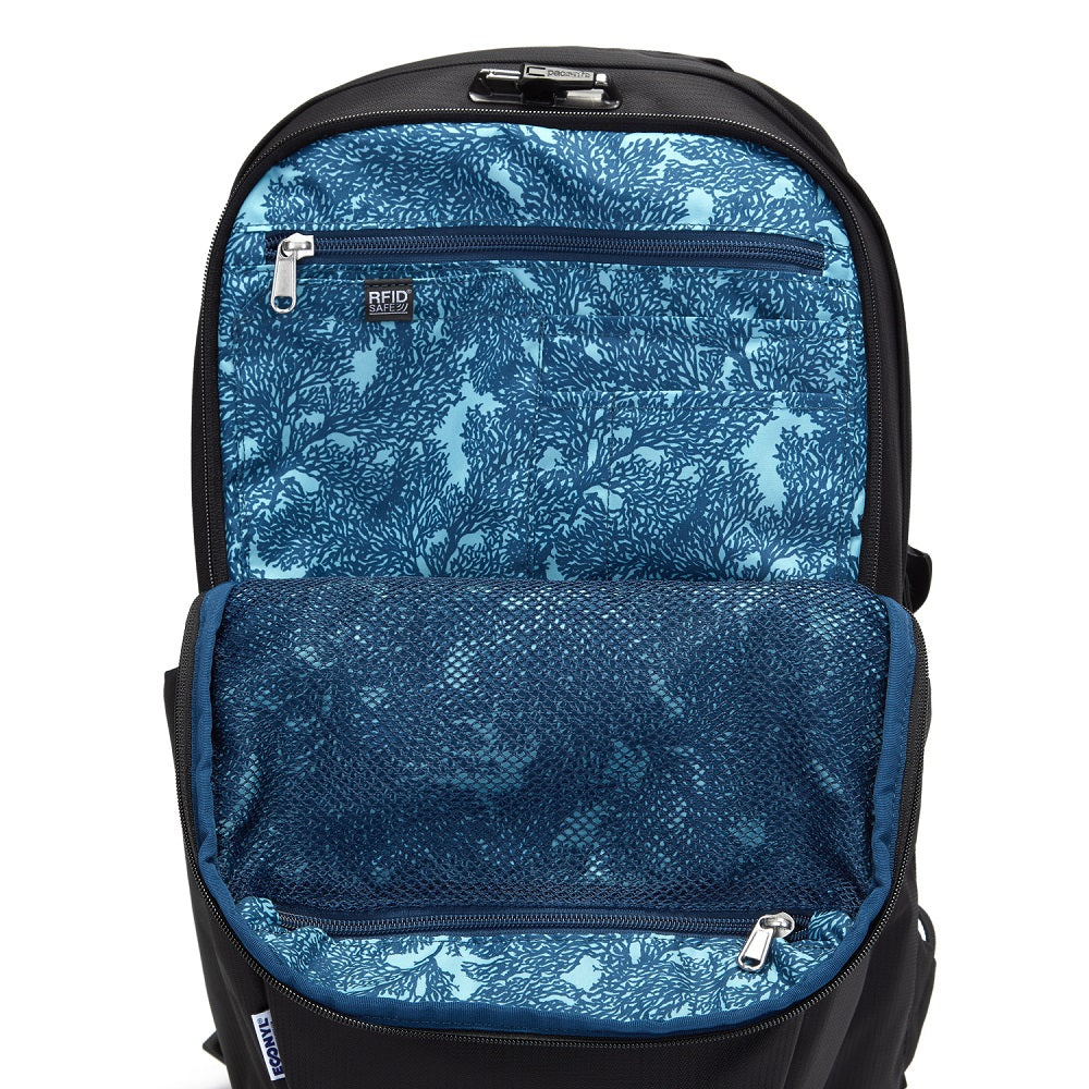 Inside view of the Pacsafe Vibe 25L Anti-Theft Backpack color Black made with ECONYLu00ae regenerated nylon