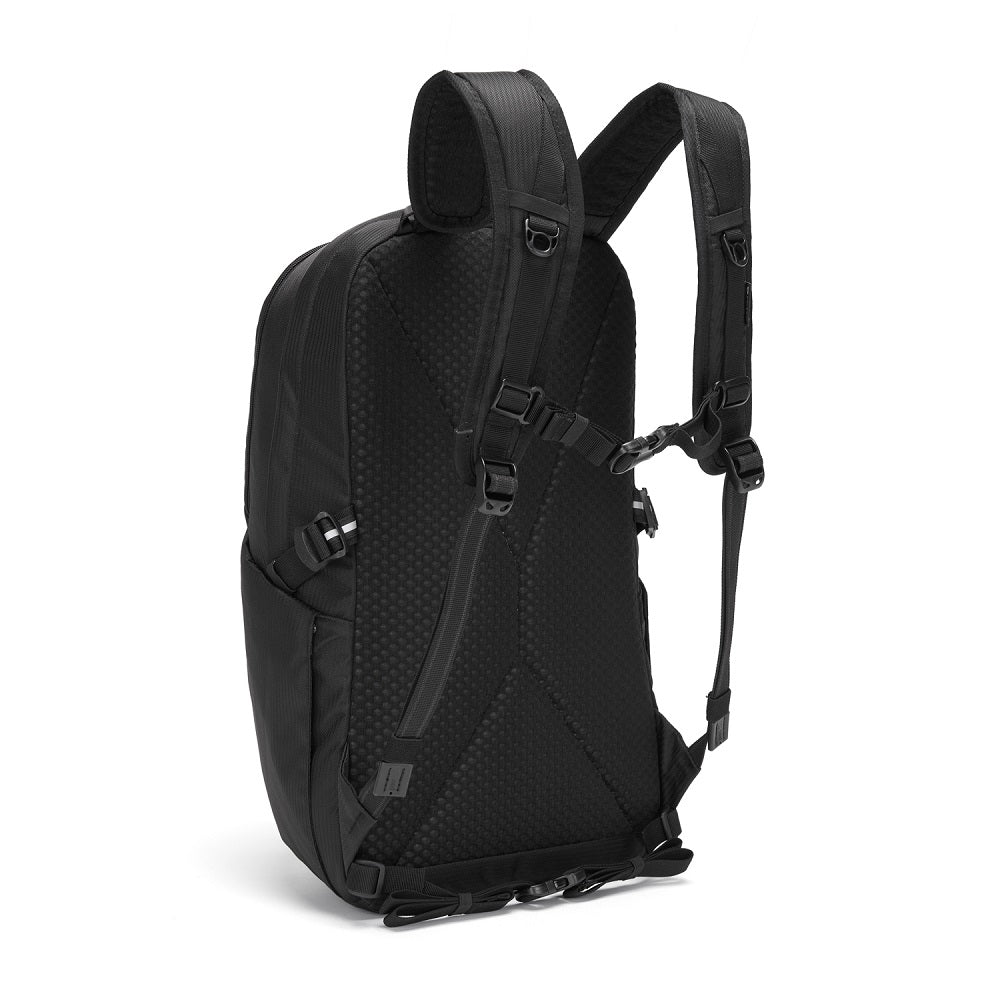 Back side view of the Pacsafe Vibe 25L Anti-Theft Backpack color Black made with ECONYLu00ae regenerated nylon