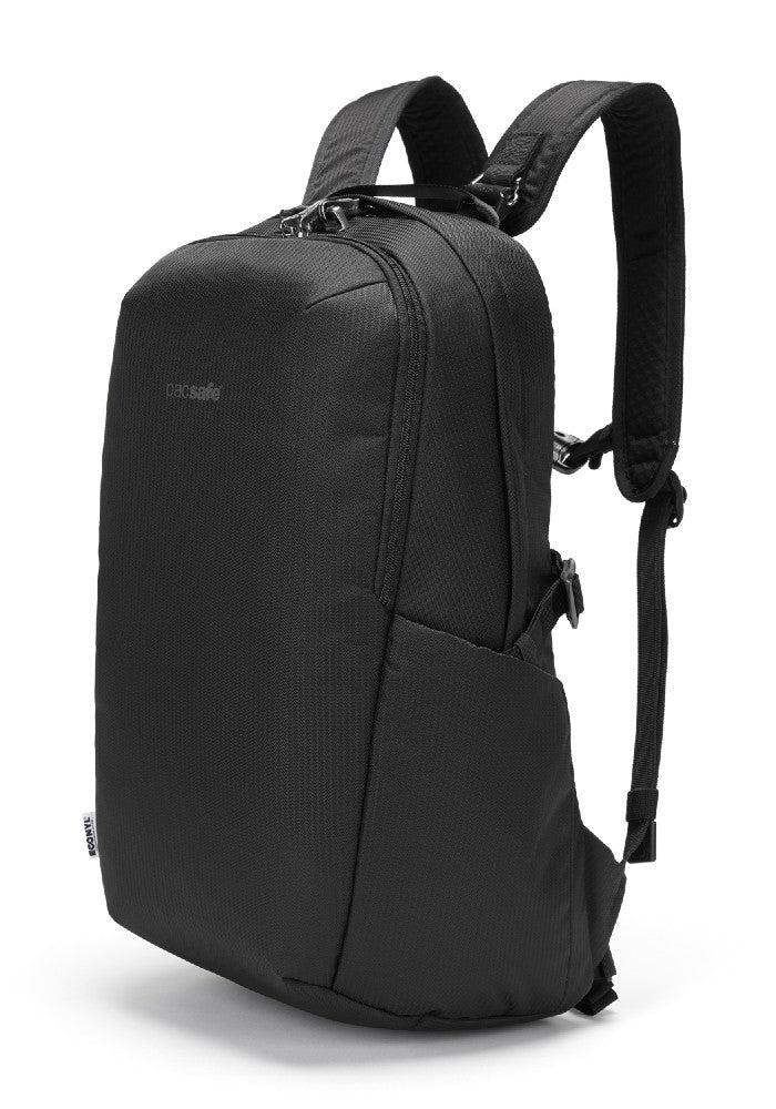 Front view of the Pacsafe Vibe 25L Anti-Theft Backpack color Black made with ECONYLu00ae regenerated nylon