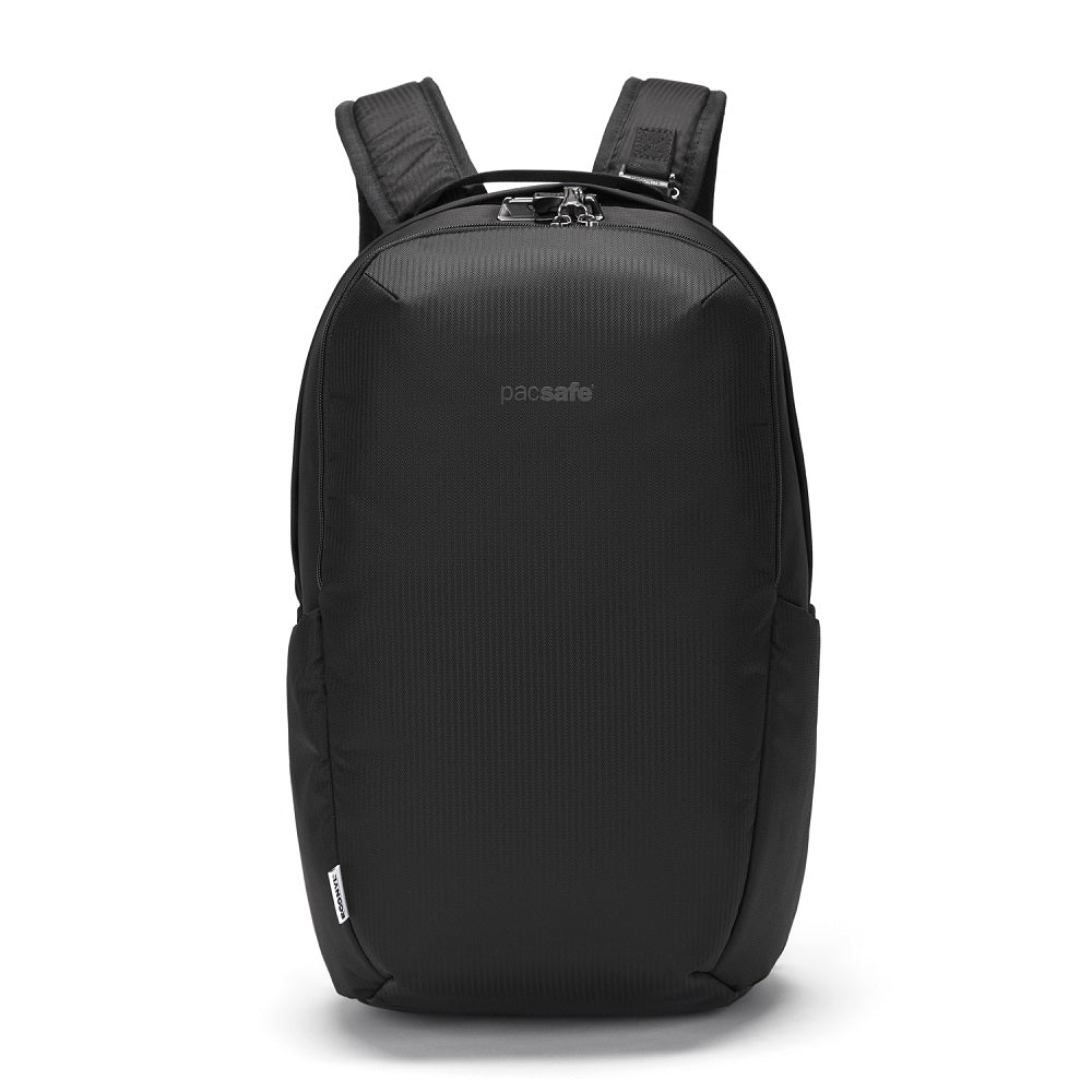 Pacsafe Vibe 25L Anti-Theft Backpack color Black made with ECONYLu00ae regenerated nylon