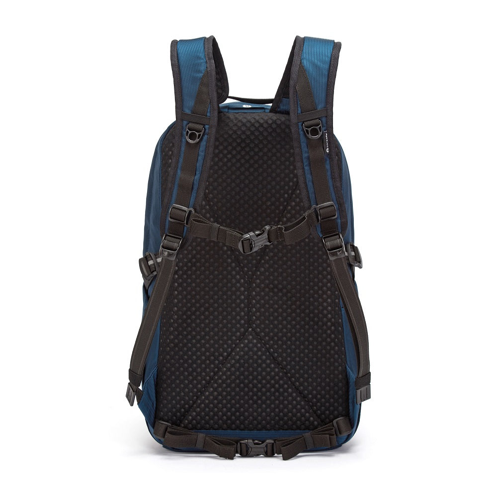 Back view of the Pacsafe Vibe 25L Anti-Theft Backpack color Ocean made with ECONYLu00ae regenerated nylon