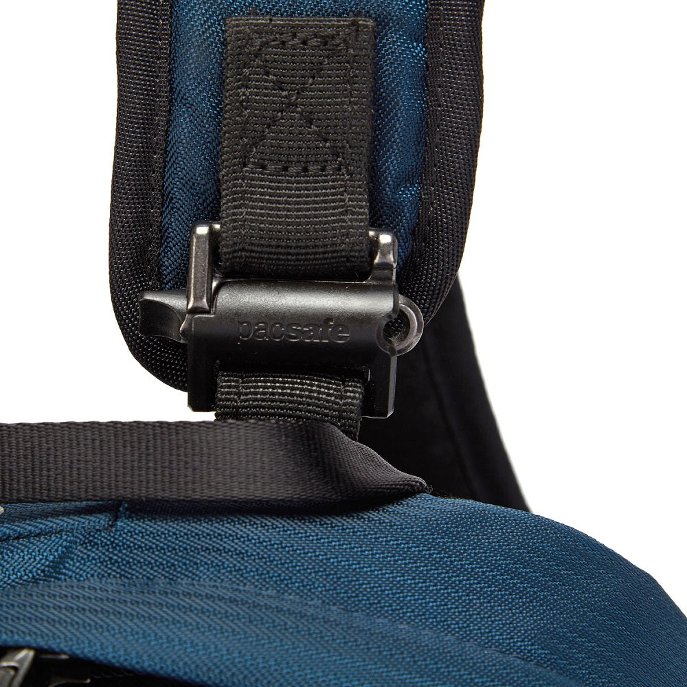 Detail of the Pacsafe Vibe 25L Anti-Theft Backpack color Ocean made with ECONYLu00ae regenerated nylon