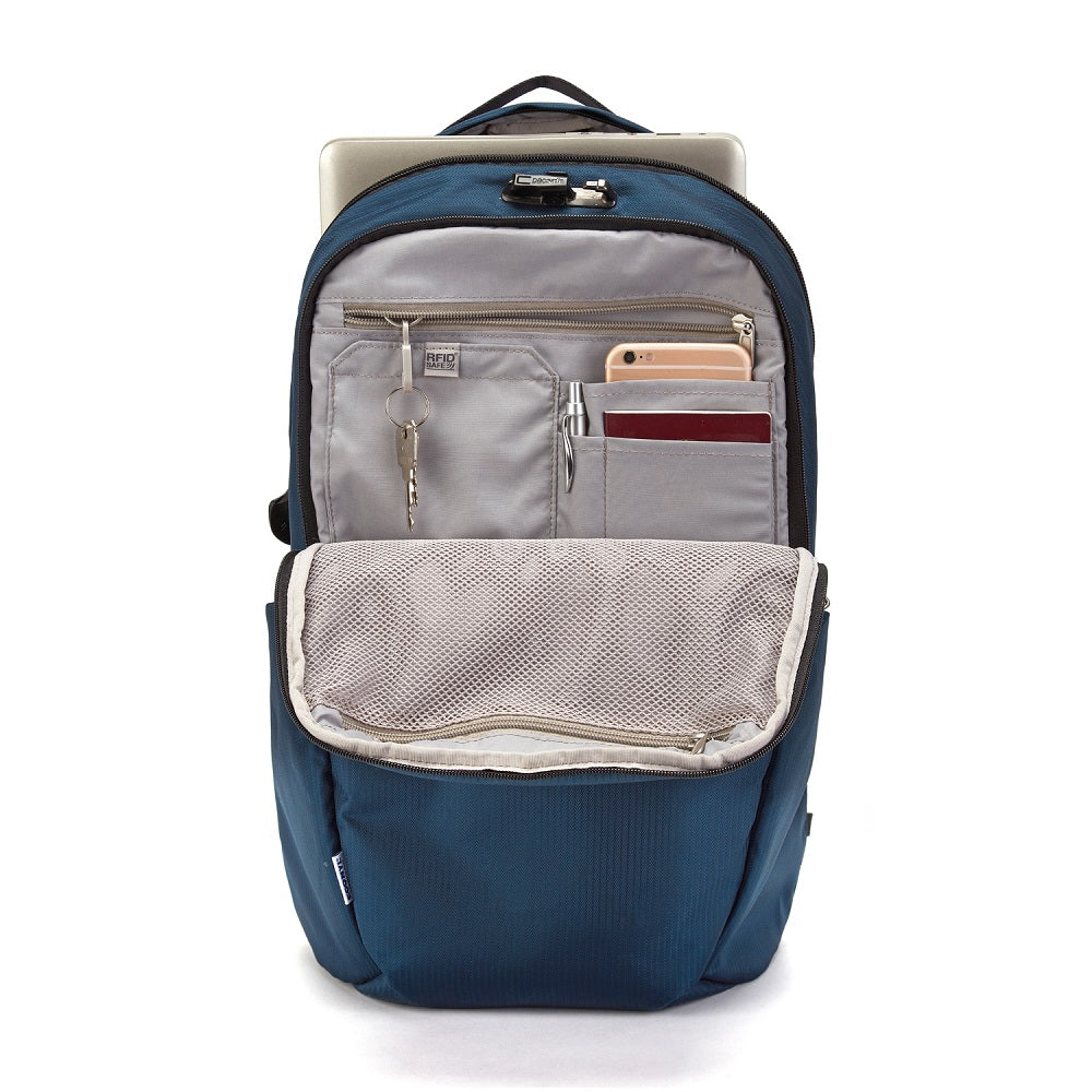 Inside view of the Pacsafe Vibe 25L Anti-Theft Backpack color Ocean made with ECONYLu00ae regenerated nylon
