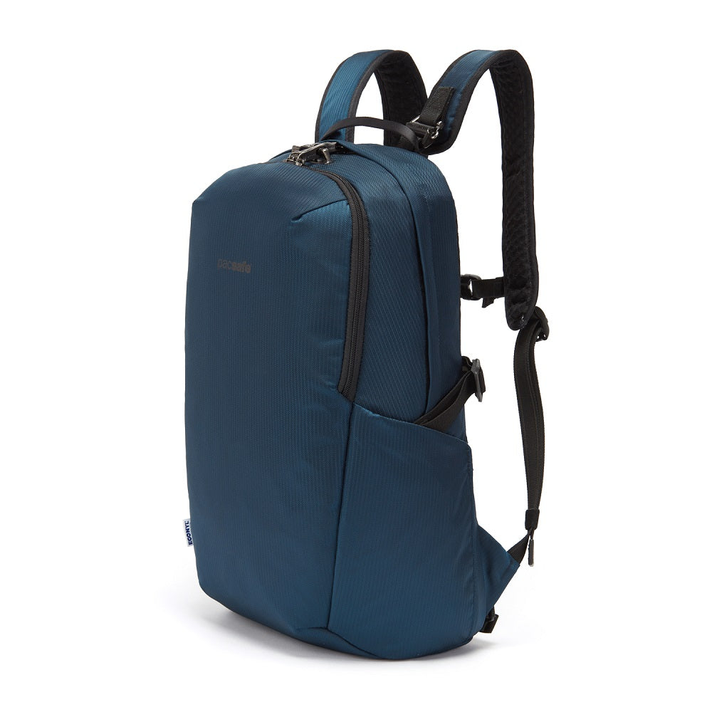 Front side view of the Pacsafe Vibe 25L Anti-Theft Backpack color Ocean made with ECONYLu00ae regenerated nylon