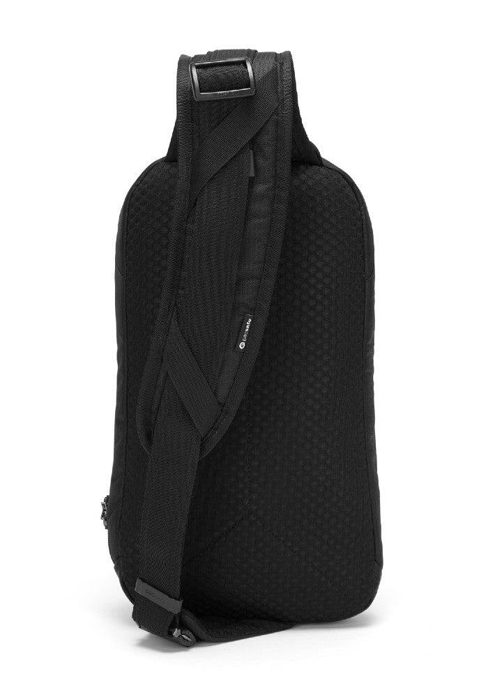Back view of the Pacsafe Vibe 325 Anti-Theft Sling Pack color Black made with ECONYLu00ae regenerated nylon