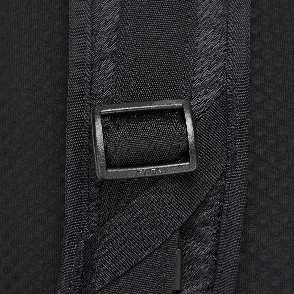 Detail of the Pacsafe Vibe 325 Anti-Theft Sling Pack color Black made with ECONYLu00ae regenerated nylon