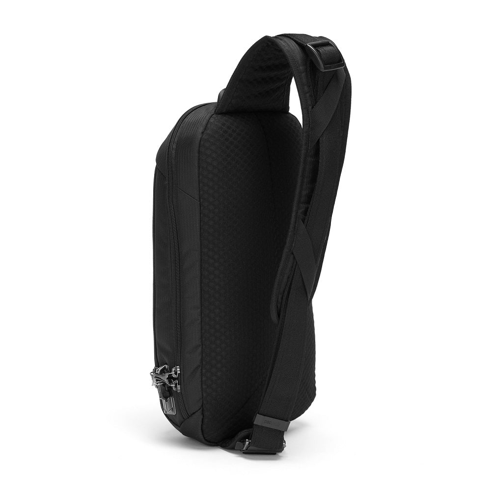 Back side view of the Pacsafe Vibe 325 Anti-Theft Sling Pack color Black made with ECONYLu00ae regenerated nylon
