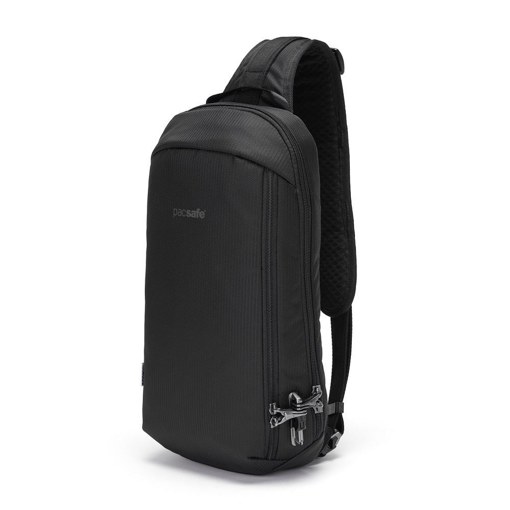 Front side view of the Pacsafe Vibe 325 Anti-Theft Sling Pack color Black made with ECONYLu00ae regenerated nylon