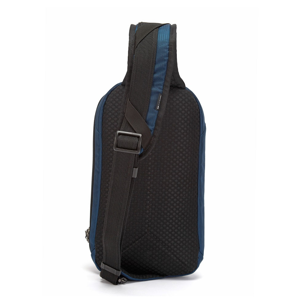 Back view of the Pacsafe Vibe 325 Anti-Theft Sling Pack color Ocean made with ECONYLu00ae regenerated nylon
