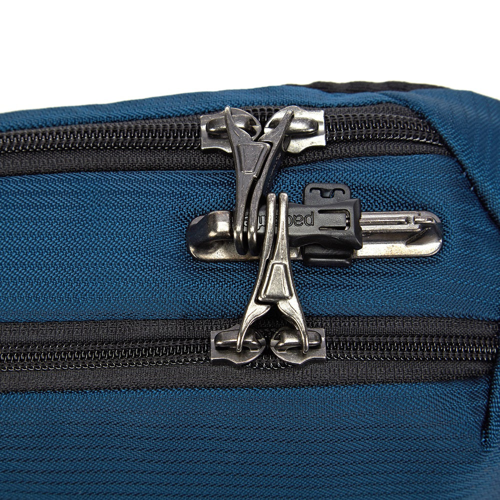 Detail of the Pacsafe Vibe 325 Anti-Theft Sling Pack color Ocean made with ECONYLu00ae regenerated nylon