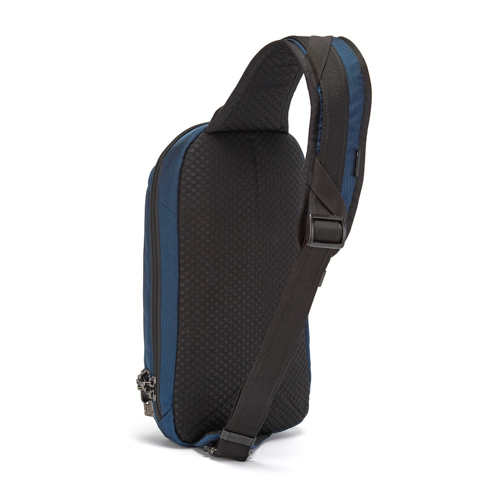 Back side of the Pacsafe Vibe 325 Anti-Theft Sling Pack color Ocean made with ECONYLu00ae regenerated nylon