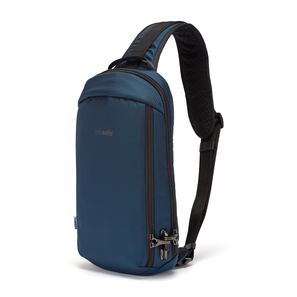 Front side of the Pacsafe Vibe 325 Anti-Theft Sling Pack color Ocean made with ECONYLu00ae regenerated nylon