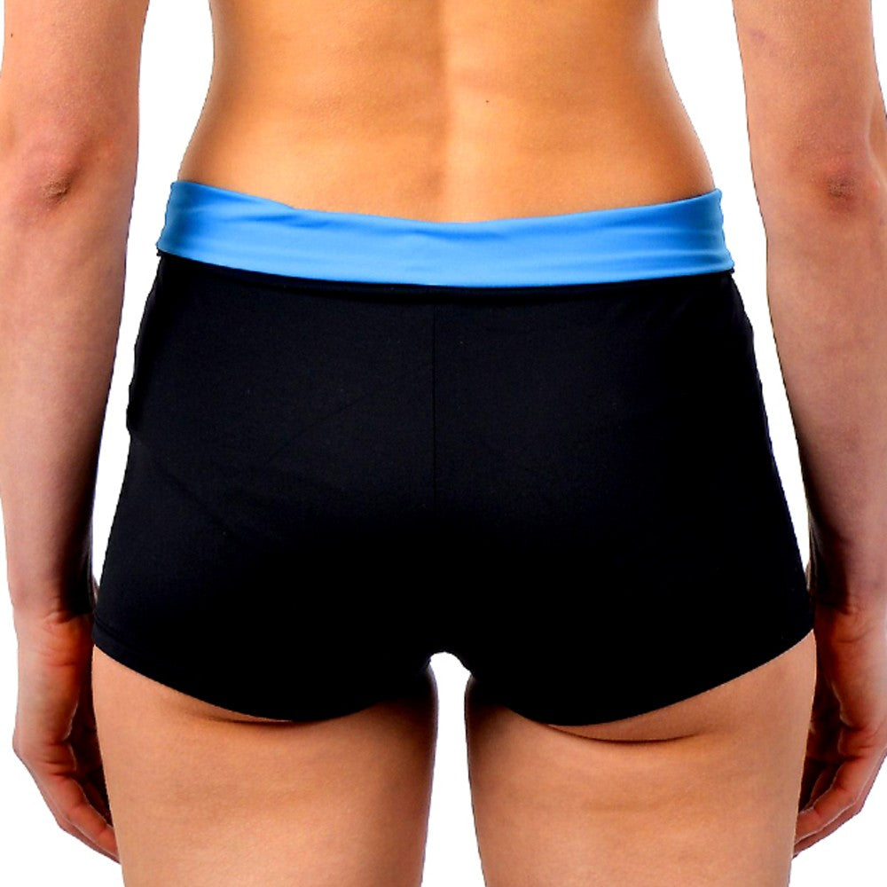 Back view of the Graciela Multi Sports Shorts RubyMoon GymToSwim color Black and Blue made with ECONYLu00ae regenerated nylon