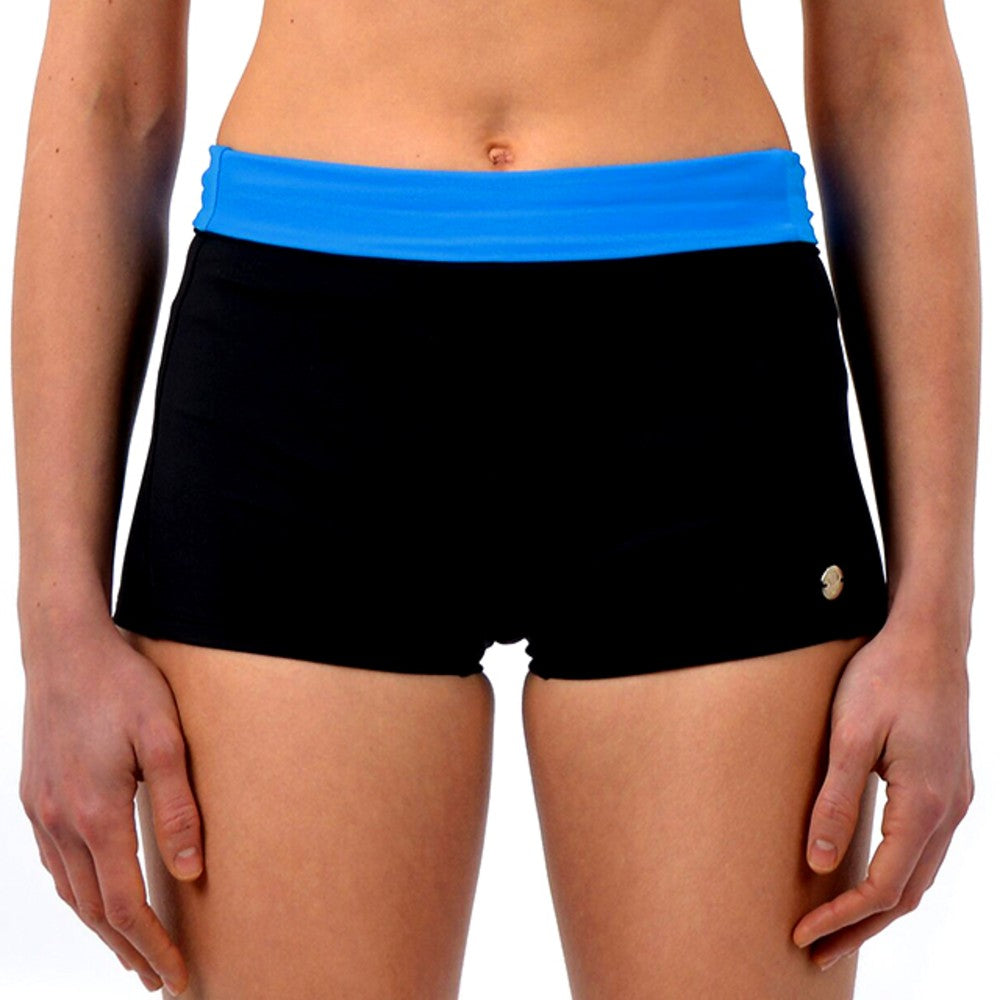 Front view of the Graciela Multi Sports Shorts RubyMoon GymToSwim color Black and Blue made with ECONYLu00ae regenerated nylon
