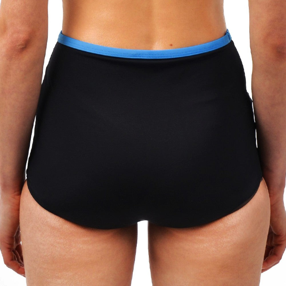 Back view of the Lucia Multi Sports Boy Shorts RubyMoon GymToSwim color Black and Blue made with ECONYLu00ae regenerated nylon