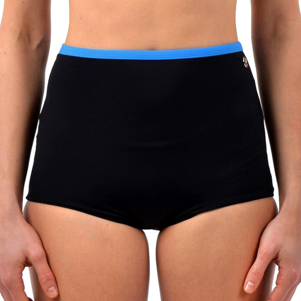 Front view of the Lucia Multi Sports Boy Shorts RubyMoon GymToSwim color Black and Blue made with ECONYLu00ae regenerated nylon