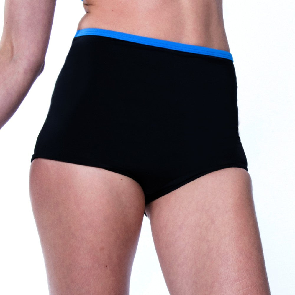 Side view of the Lucia Multi Sports Boy Shorts RubyMoon GymToSwim color Black and Blue made with ECONYLu00ae regenerated nylon