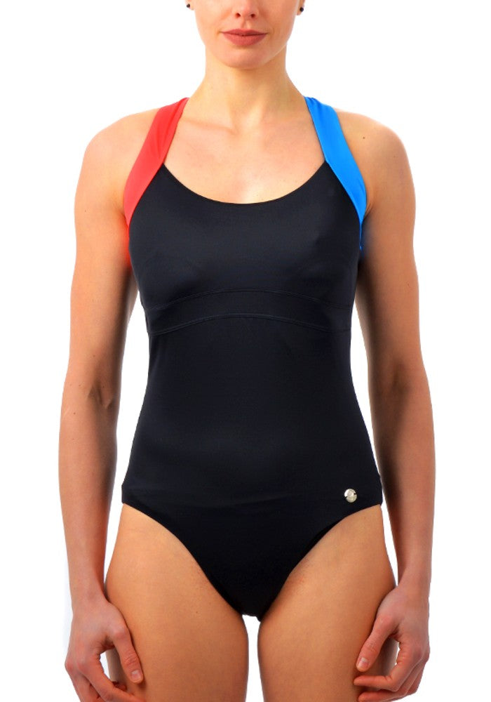 Front view of the Sorphea Swimsuit RubyMoon GymToSwim color Black made with ECONYLu00ae regenerated nylon