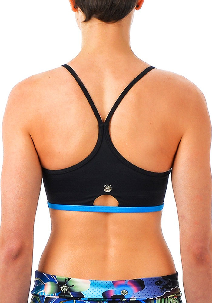 Back view of the Vanna Multi Sports Crop Top RubyMoon GymToSwim color patterned made with ECONYLu00ae regenerated nylon