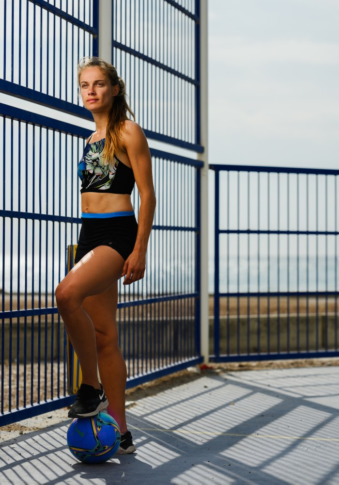 Vanna Multi Sports Crop Top RubyMoon GymToSwim color patterned made with ECONYLu00ae regenerated nylon for Football
