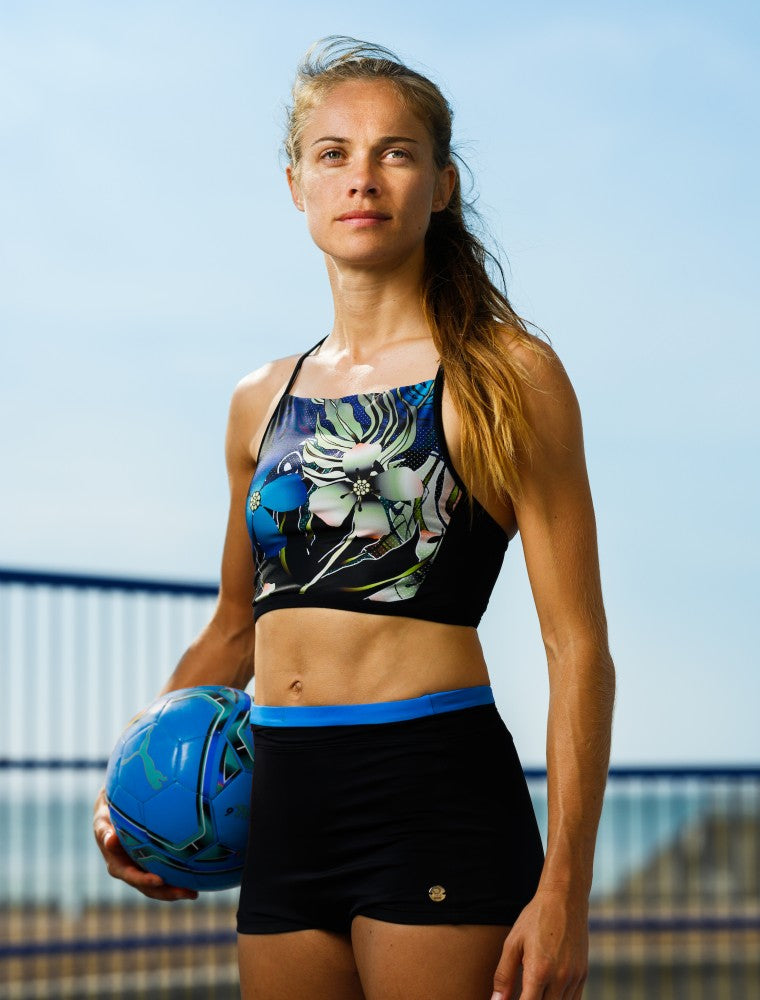 Vanna Multi Sports Crop Top RubyMoon GymToSwim color patterned made with ECONYLu00ae regenerated nylon