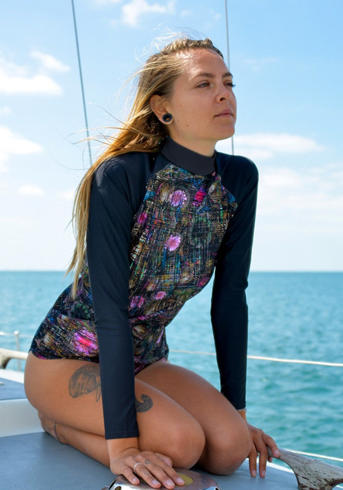 Yasmeen Rash Vest RubyMoon GymToSwim color patterned made with ECONYLu00ae regenerated nylon for Surfing